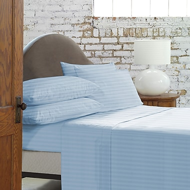 Blanc De Blancs - Ensemble de draps 800 fils au pouce à rayures damassé, bleu