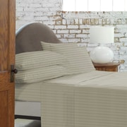 Blanc De Blancs - T800 Damask Stripe Sheet Set, Taupe