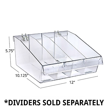 Azar Displays Deep Clear Divider Bin