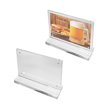 Futech Countertop Magnetic Acrylic Sign Holders, Clear, 10/Pack