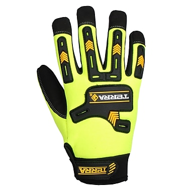 Terra High Visibility Mechanics Gloves, 3 Pairs/Pack
