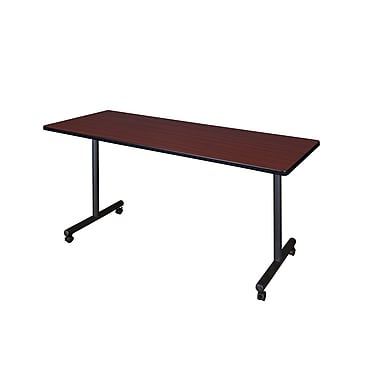 Regency Metal & Wood Flip Top Mobile Training Table with Mario Stack Chairs, MKFT6024BE75BK