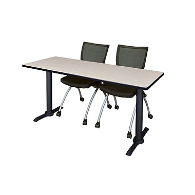 Regency Metal & Wood Cain Rectangular Training Table with Zeng Stack Chairs