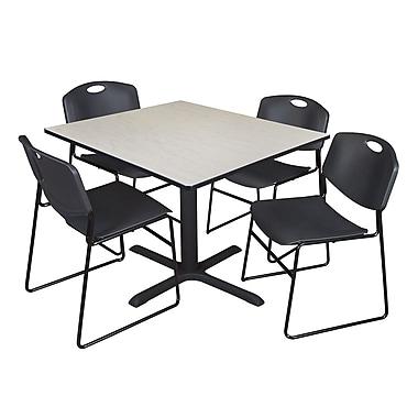 Regency ? Table carrée en stratifié de 48 po avec 4 chaises empilables Zeng