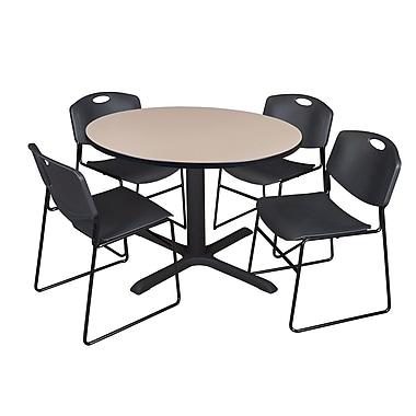 Regency ? Table ronde de 48 po en stratifié avec 4 chaises empilables Zeng