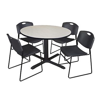 Regency ? Table ronde érable de 48 po en stratifié avec chaises empilables Zeng