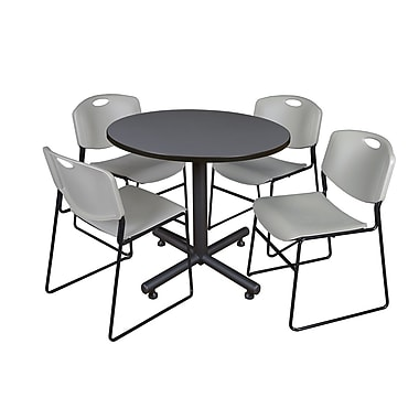 Regency Round Laminate Grey Table with 4 M Stacker Chairs, TKB36RNDGY47BE