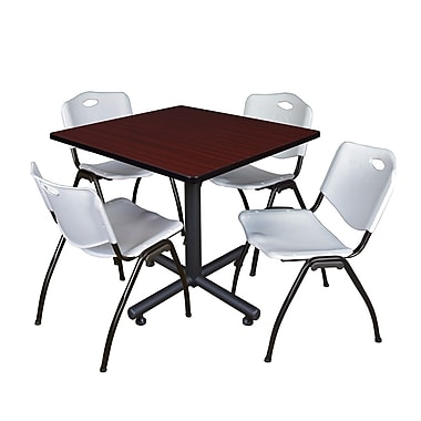 Regency Square Laminate Table Mahogany With 4 Zeng Stacker Chairs, TKB4242MH44BE