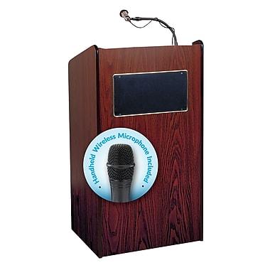 Oklahoma Sound Aristocrat Sound Lectern with Wireless Handheld Microphone, Mahogany (6010-MY/LWM-5)