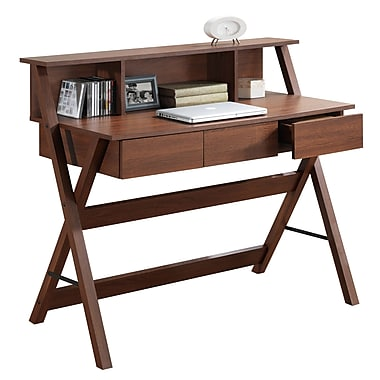 CorLiving WFP-720-D Folio Three-Drawer Desks with Low Profile Hutch