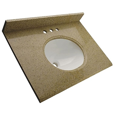 Foremost – Comptoir de 31 po en granite, trous à robinet central 4 po, évier encastré préinstallé, dosseret arrière et latéral