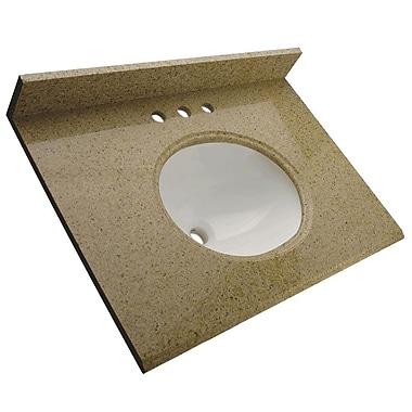 Foremost – Comptoir de 37 po en granite, trous à robinet central 4 po, évier encastré préinstallé, dosseret arrière et latéral
