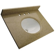Foremost – Comptoir de 49 po en granite, trous à robinet central 8 po, évier encastré préinstallé, dosseret arrière et latéral