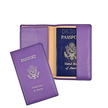 Royce Leather Passport Holder & Travel Document Organizer in Genuine Leather, Foil Stamped