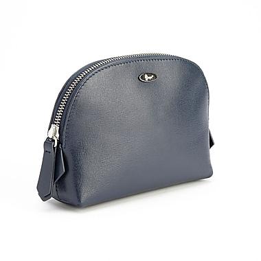Royce Leather – Sac de voyage de luxe pour produits de beauté en cuir Saffiano, bleu