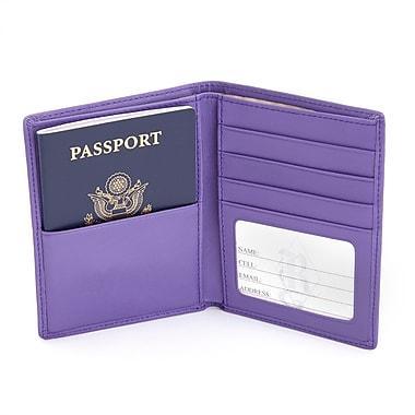 Royce – Portefeuille de voyage anti-RFID repliable pour passeport et billets, en cuir véritable, violet