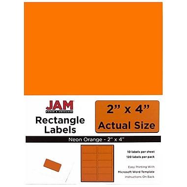 JAM PaperMD– Étiquettes postales de couleur néon fluorescent, 2 x 4 po, rouge néon, 360/paquet