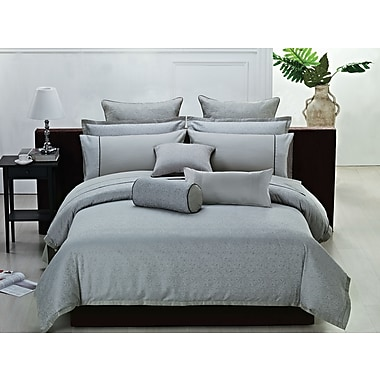 Highland Feather Silver Modern Leaves Duvet Cover Ensemble
