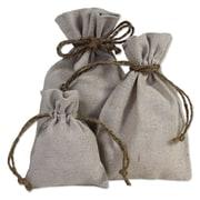 B2B Wraps Linen Bags with Hemp Cords, Natural Linen, 24/Pack