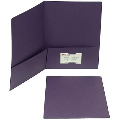 JAM Paper® Two Pocket Matte Paper Folder, Dark Purple, 12/Pack