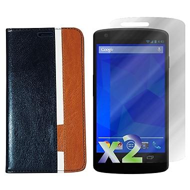 Exian – Étui portefeuille en cuir pour Nexus 5