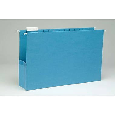 Smead® Hanging File Pocket with Tab, 1/5-Cut Adjustable Tab, Letter Size, Sky Blue, 25/Box