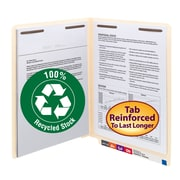 Smead® End Tab 100% Recycled Fastener File Folder, Shelf-Master® Reinforced Straight Tab, Manila, 50/Box