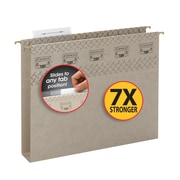 """Smead® TUFF® Hanging Box Bottom File Folder with Easy Slide Tab, 2"""" Expansion, Steel Gray, 18/Box"""