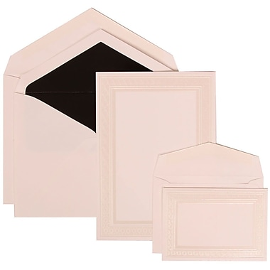 JAM Paper® Wedding Invitation Ivory Embossed Border Set Combos, White Cards with Black Lined, 150/Pack