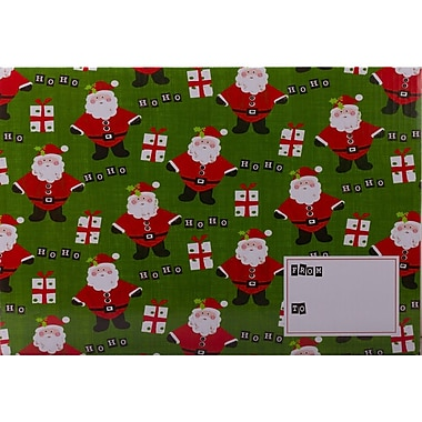 JAM Paper® Green Santa Christmas Design Gift Box Mailers with Safety Lock, 6/Pack