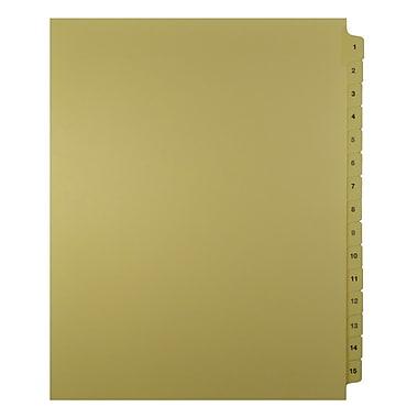 Mark Maker – Onglets séparateurs juridiques beiges, 1/15 onglets, format lettre, sans trous, numéros