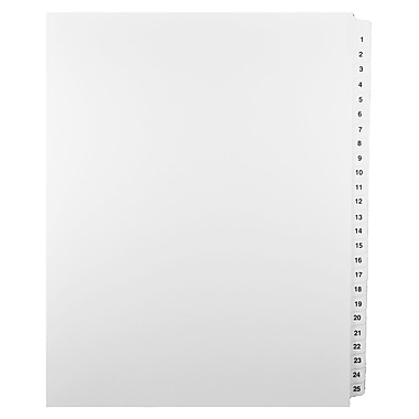 Mark Maker Legal Exhibit Index Tab Set of White Single Tabs, 1/25th Cut, Letter Size, No Holes, Numbers