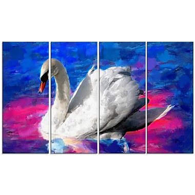 Designart – Imprimé sur toile, cygne nageant, 5 panneaux