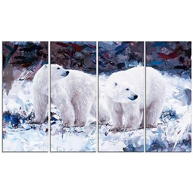 Design Art – Amis ours polaires, impression sur toile 5 panneaux