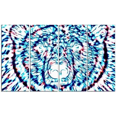 Design Art – Ours psychadélique, art animalier, grande toile bleue