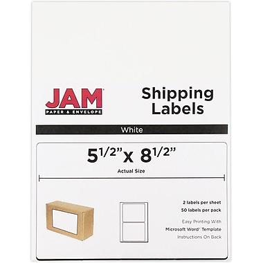 JAM PaperMD – Étiquettes d'expédition, demi-feuilles, 5,5 x 8,5 po, 50/paquet