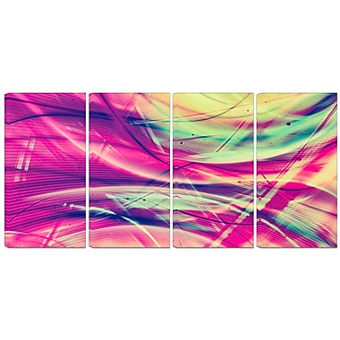 Design Art – Art abstrait et rétro rose et jaune, impression sur toile 4 panneaux