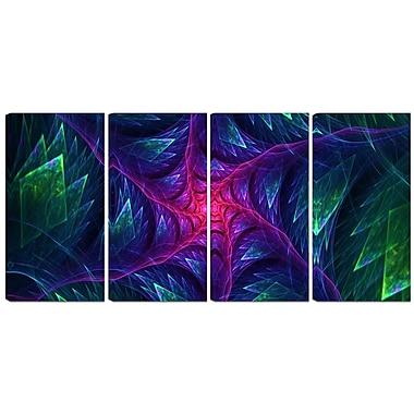 Designart – Toile imprimée, Turbine violette la nuit, 4 panneaux