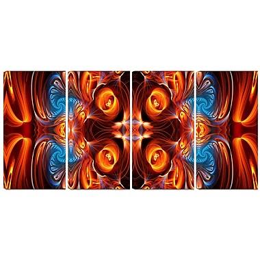Design Art – Imprimé moderne sur toile, symétrie orange et bleue, 4 panneaux