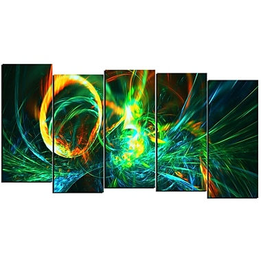 Design Art Fire Green 5-Panel Abstract Canvas Art Print