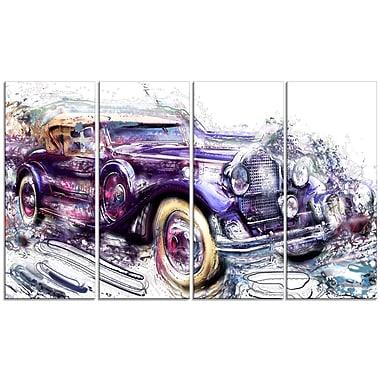 Design Art – Voiture vintage abtraite, grande toile étirée