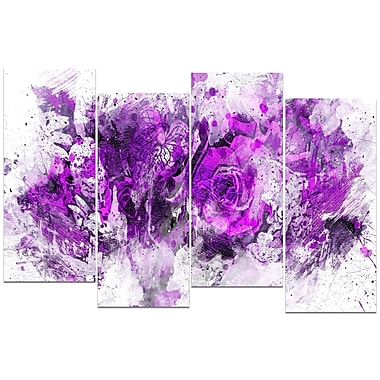 Design Art Royal Purple Flowers 4-Panel Canvas Art Print