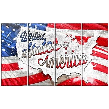 Design Art – Drapeau américain, abstrait, toile