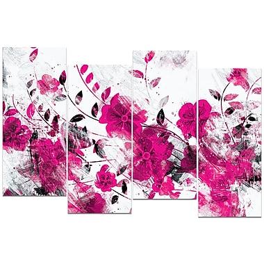 Design Art – Chemin de fleurs roses, impression sur toile 4 panneaux