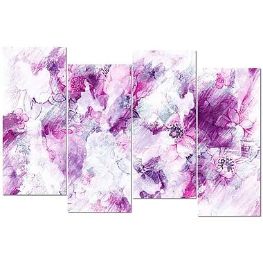 Design Art – Fleurs roses abstraites, impression sur toile 4 panneaux