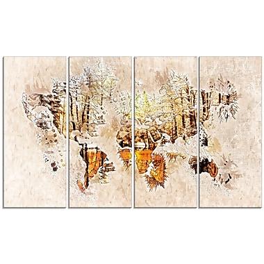 Design Art – Imprimé de carte sur toile, couleurs neutres