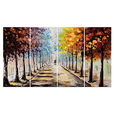 Designart – Paysage de forêt imprimé sur une toile, allons nous promener, 4 panneaux