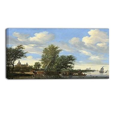 Designart – Toile imprimée de Salomon Van Ruysdael, paysage de bord de rivière avec un voilier