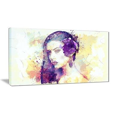 Designart – Imprimé sensuel sur toile, beauté aux cheveux noirs