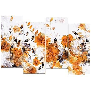 DesignArt – Imprimé sur toile, fleurs jaune foncé, 4 pièces
